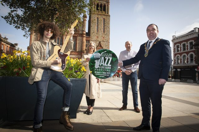 JAZZ FESTIVAL 2021 LAUNCH. . .  The Mayor of Derry City and Strabane District Council Brian Tierney pictured launching the 2021 City of Derry Jazz and Big Band Festival at Guildhall Square on Thursday morning. The festival will run from April 30-May 2. Included are Joseph Leigh, jazz musician, Andrea Campbell, festival organiser, DCSDC and Johnny Murray, former artistic director, City of Derry Jazz and Big Band Festival. (Photo: Jim McCafferty Photography)