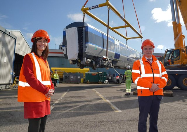 Nichola Mallon with Translink boss Chris Conway.