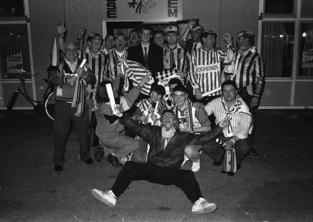A group of Derry City supporters outside the Monnikenhuize stadium before the club's UEFA Cup clash with Vitesse Arnhem in October 1990.