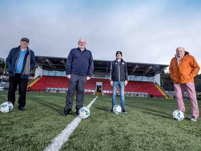 Terry Harkin, Eamonn McLaughlin, Tony O'Doherty and Eddie Mahon, the famous 'Gang of Four' at the Ryan McBride Brandywell Stadium. Picture courtesy Stephen Latimer