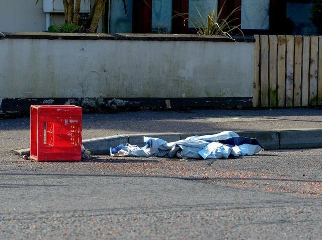 Rags and an empty milk crate that was used to carry petrol bombs after a night of disorder in Irish Street last weekend.