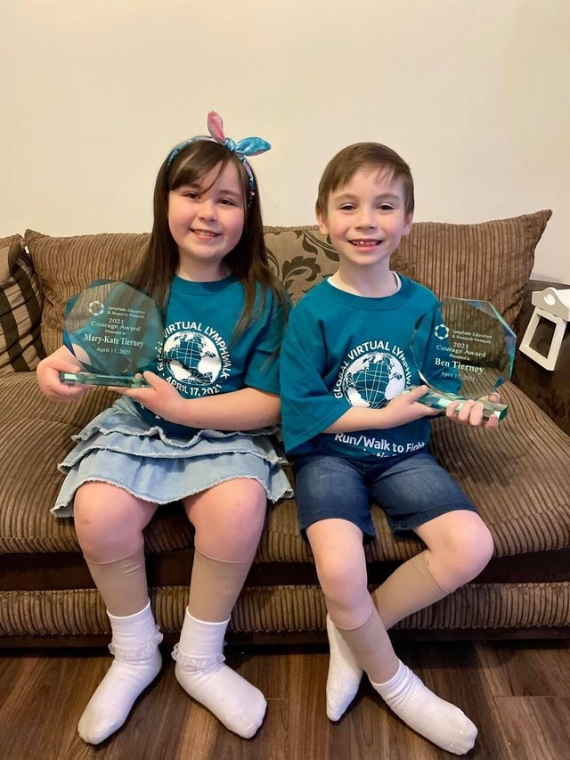 Mary-Kate and Ben Tierney who have received courage awards from the global organisation Lymphatic Education & Research Network (LE&RN)
