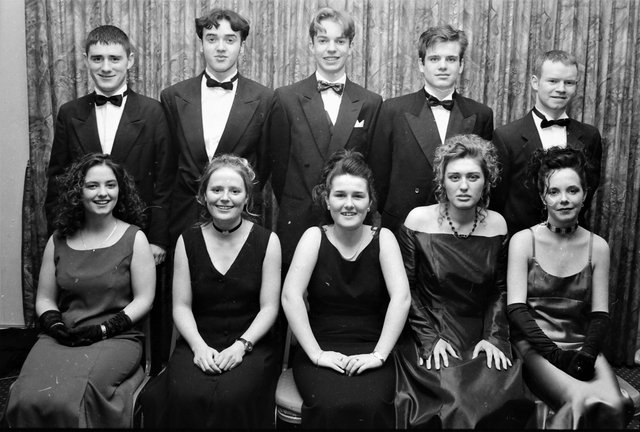 Seated are Mairead Quigley, Sinead Walker, Eve Moran, Catherine Quigley and Sbarina Gallagher. At back are Sean Campbell, Jonathan Fitzgerald, Christopher Beirne, Jonathan McNickle and Darren Craig.