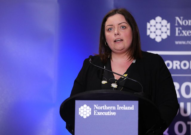 Press Eye - Belfast - Northern Ireland - 8th April 2020 -  Deirdre Hargey, Minister for Communities during the daily media broadcast in the Long Gallery at Parliament Buildings, Stormont on Wednesday.Photo by Kelvin Boyes / Press Eye.