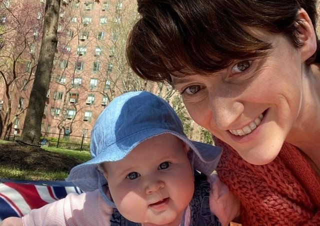 Maria McElhinney and her daughter Fiadh Saunders who joined Spraoi agus Sport's Baby Massage and Music from their home in New York