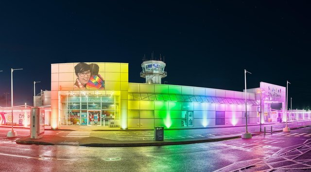 City of Derry Airport was lit up in rainbow colours this week to commemorate the second anniversary of the death of Lyra McKee.