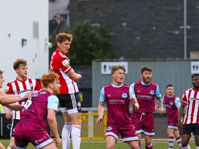Derry City defender Ronan Boyce heads the home side level just before half time with his first senior goal. (Picture by Kevin Moore).