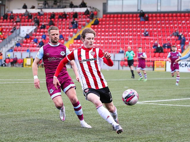 Will Fitzgerald gets on the ball during the first half of the 1-1 draw with Drogheda United at Brandywell on Friday night. Photograph by Kevin Moore
