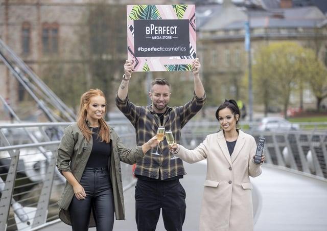 Clarissa Mallon, Brendan McDowell and Eimhear O'Kane launch the Derry BPerfect store