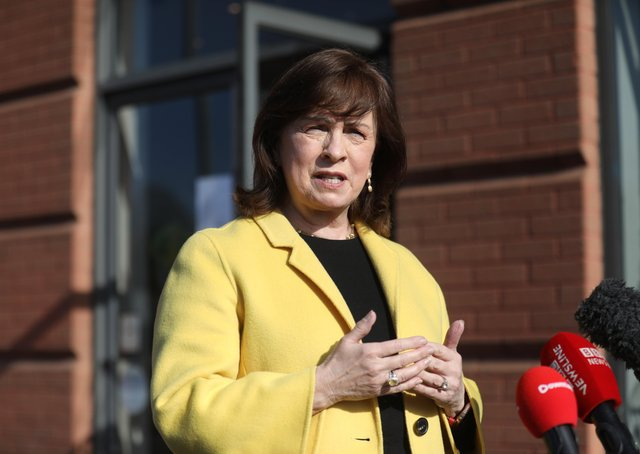 Northern Ireland Economy Minister Diane Dodds speaks to the media outside the Natural Hair Company, Lisburn, Northern Ireland, where hairdressers are able to resume trading with lockdown restrictions beginning to gradually ease. Picture date: Friday April 23, 2021.