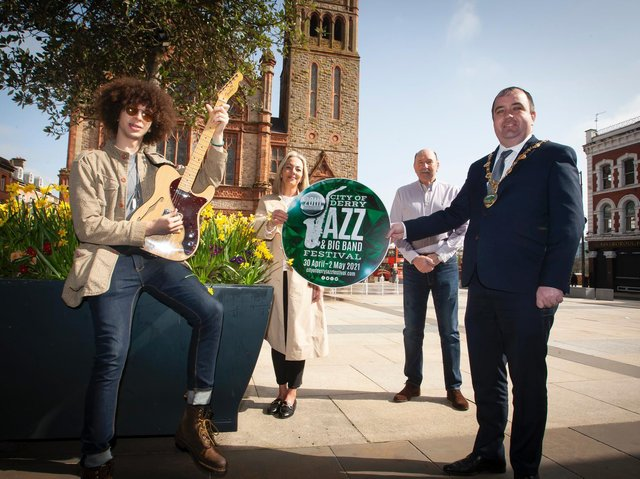 The Mayor of Derry City and Strabane District Council, Cllr Brian Tierney, pictured launching the 2021 City of Derry Jazz & Big Band Festival at Guildhall Square.