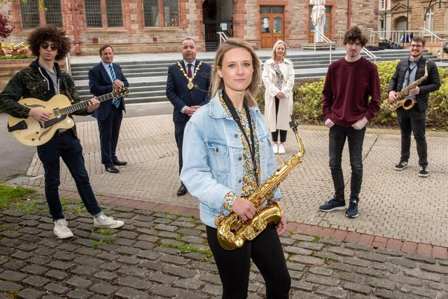 Mayor of Derry City and Strabane District Council, Cllr Brian Tierney, with Joseph Leighton, Kitija Ernstone, Mark McLaughlin and Diarmuid O'Kane who have all been awarded a £1,000 Council funded bursary as part of the City of Derry Jazz & Big Band Festival, which takes place virtually this weekend. The project was also supported by North West Regional College and Ulster University. Also pictured, Andrea Campbell, Council Festival Co-ordinator and Leo Murphy, NWRC Principal & CEO.