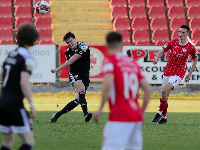 Captain Eoin Toal produced another solid display at the heart of the Derry City defence, at Sligo Rovers, on Saturday. Picture courtesy: Kevin Moore/MCI