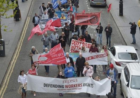A previous May Day rally in Derry.