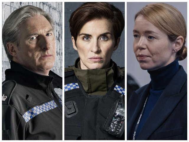 Left to right: Supt. Ted Hastings (Adrian Dunbar), DI Kate Fleming (Vicky McClure) and DS Patricia Carmichael (Anna Maxwell Martin).