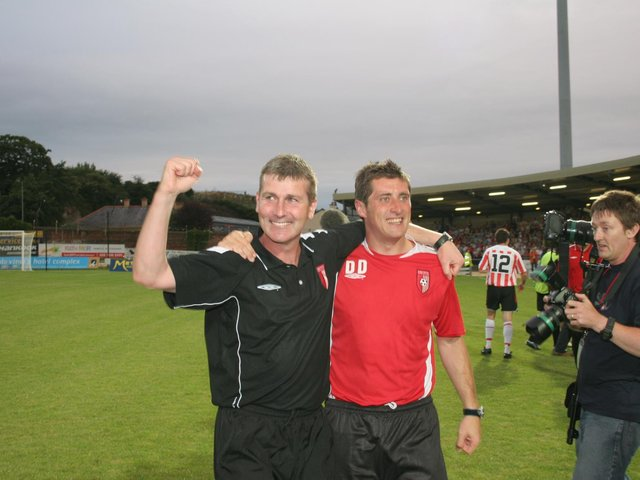 Stephen Kenny and Declan Devine pictured after Derry City's famous UEFA Cup victory over Gothenborg in 2006.
