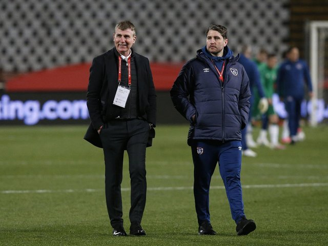 Ireland manager Stephen Kenny pictured with new Derry City boss Ruaidhri Higgins