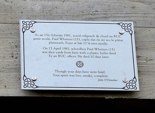 A plaque unveiled at Great James' Street on Sunday afternoon last in memory of  Paul Whitters.