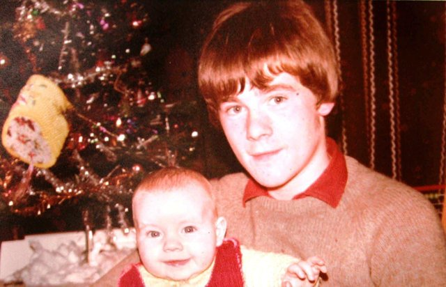 Fifteen years old Paul Whitters pictured with his baby brother Aidan shortly before he (Paul) was killed by a rubber bullet in Derry on April 15, 1981.