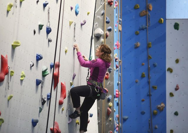 The climbing wall at Foyle Arena.