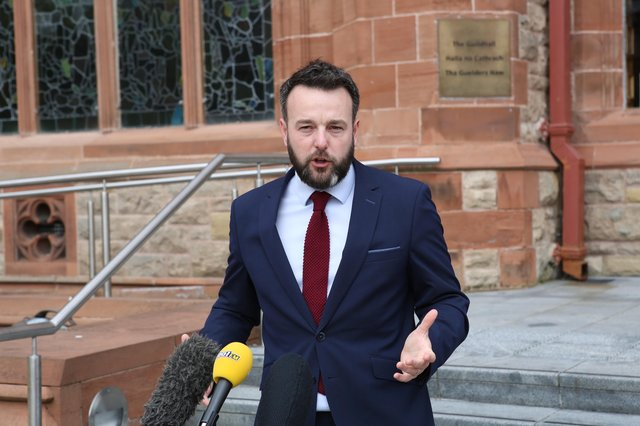 Press Eye - Northern Ireland -3rd August 2020 - SDLP Leader Colum Eastwood addresses the press on the steps of the Guildhall, Derry.
