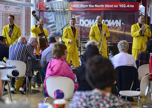 The Jive Aces performing in the Foyleside Shopping Centre during the 2015 City of Derry Jazz Festival. Photo: George Sweeney / Derry Journal.