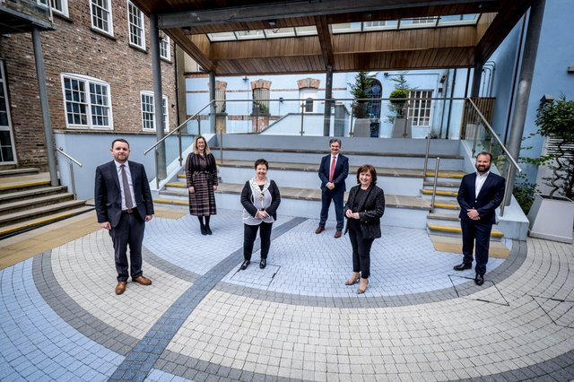 From left are Gary Middleton, MLA, Selina Horshi, Managing Director, White Horse Hotel, Dawn McLaughlin, Paul Clancy, Chief Executive, Derry Chamber, Diane Dodds, and Paul Curtis, Curtis Opticians.