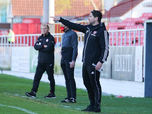 Derry City boss Ruaidhri Higgins has enjoyed his first full week on the training pitch at Brandywell as he prepares for tough trip to Bohemians on Friday night. (Picture by Kevin Moore).