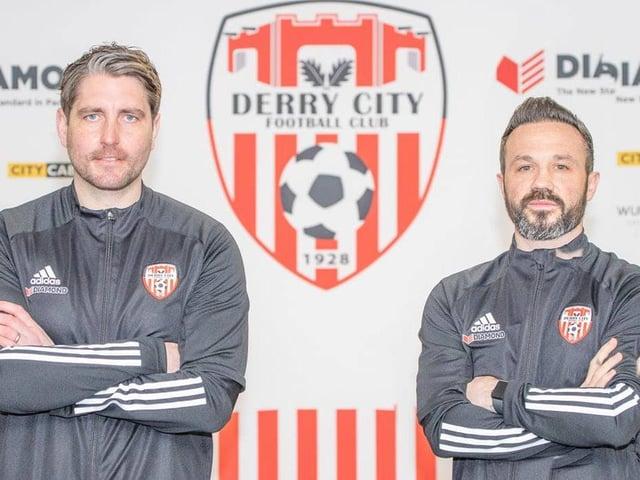 Derry City boss Ruaidhri Higgins and first team coach Rafael Cretaro. Picture by North West Newspix.