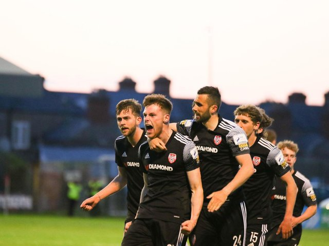 Derry City defender Cameron McJannet celebrates after scoring his third goal of the season which got the Candy Stripes back on level terms at Dalymount. Photograph by Kevin Moore.