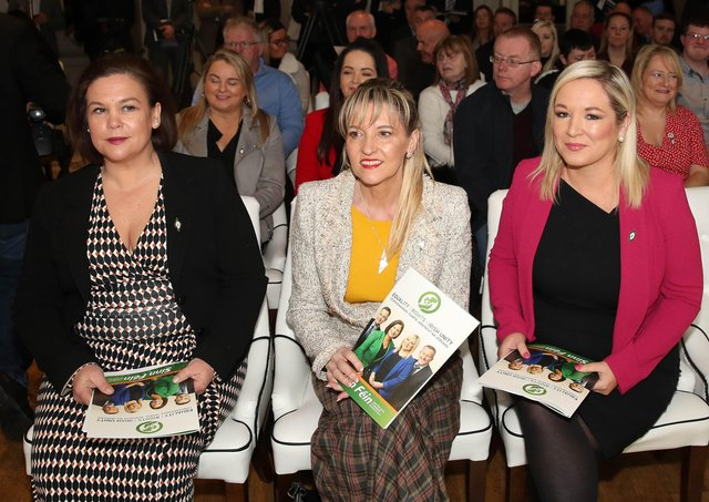 Press Eye - Sinn Feinn Manifesto launch - Galgorm Hotel - Ballymena -  5th April 2019Photograph by Declan RoughanSinn Fein launches party Manifesto for Local Government Elections 2019(L-R) Mary Lou McDonald, Martina Anderson and Michelle O'Neill