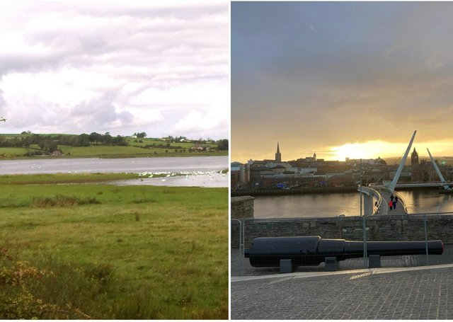 Inch Levels in Donegal and Derry city centre.