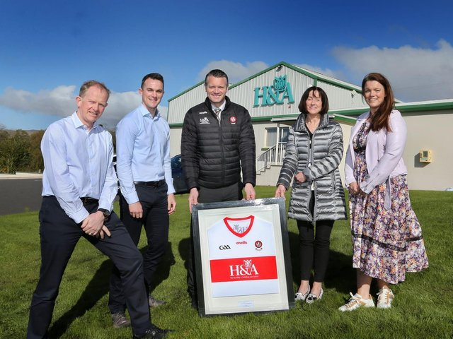 (From left) Martin Collins, Director H&A Mechanical, Carlus McWilliams, Stephen Barker, Derry County Chairman, Anne McWilliams, Maureen Quinn (nee McWilliams) at the launch of the new Derry 2021 GAA jersey.(Photograph: Margaret McLaughlin)