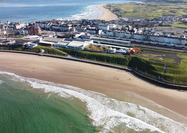 PRIME SITE... A bird's eye view of the Barry's Amusements site on Portrush's shorefront.