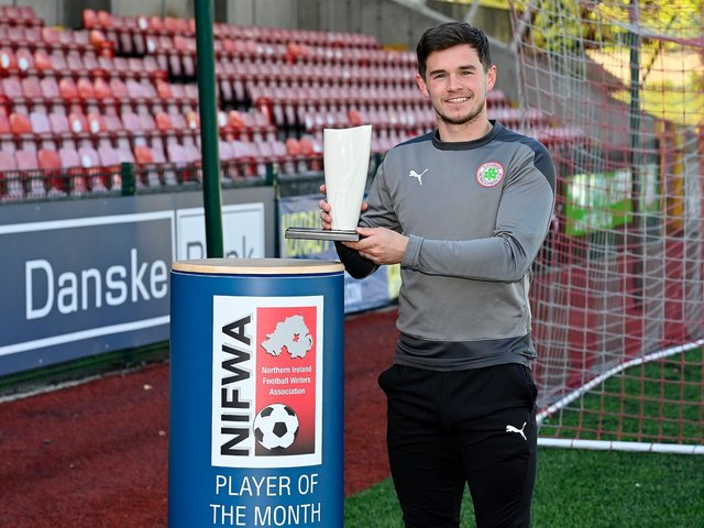 Cliftonville striker Michael McCrudden was the Danske Bank player of the month for April. Picture by Stephen Hamilton/Presseye