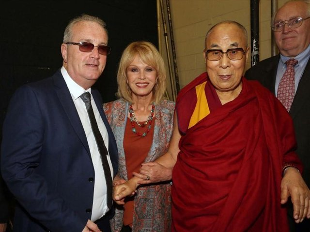 Children in Crossfire founder Richard Moore with his friend the Dalai Lama and the actress Joanna Lumley.