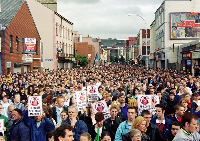Garvaghy Rd support Rally, Strand Road.