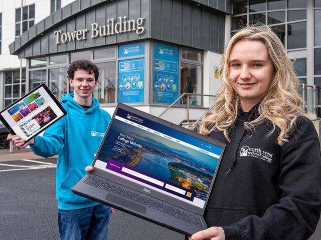 Performing Arts student Conaill Long and Health Science student Amy Hutcheon log on to NWRC's new website at www.nwrc.ac.uk