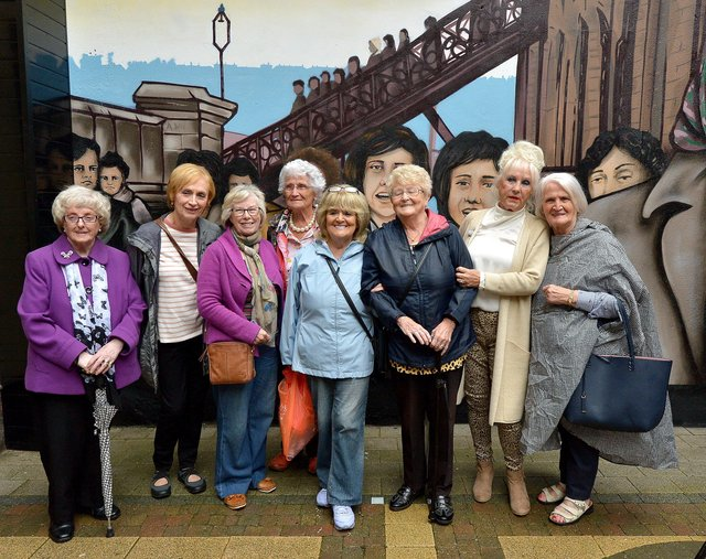 Former Derry factory girls pictured at the 2019 launch of the UV Arts Factory Girls Murals in the Craft Village. DER3419GS  033