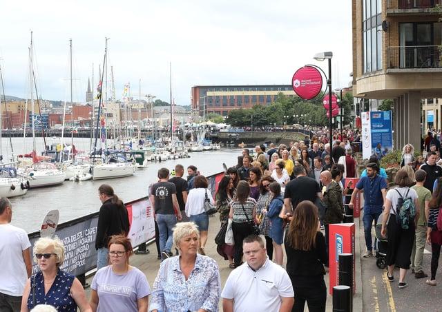Foyle Maritime Festival 2018Crowds on Derry Quay.