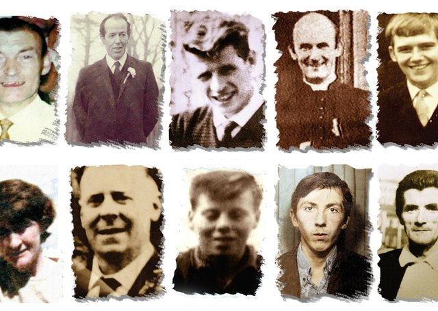 Undated Ballymurphy Massacre Committee handout file photos of (left to right top row) Joseph Corr, Danny Taggart, Eddie Doherty, Father Hugh Mullan, Frank Quinn, Paddy McCarthy, (left to right, bottom row) Joan Connolly, John McKerr, Noel Philips, John Laverty and Joseph Murphy, who were all gunshot victims of the Ballymurphy massacre in west Belfast in 1971. Issue date: Tuesday May 11, 2021.