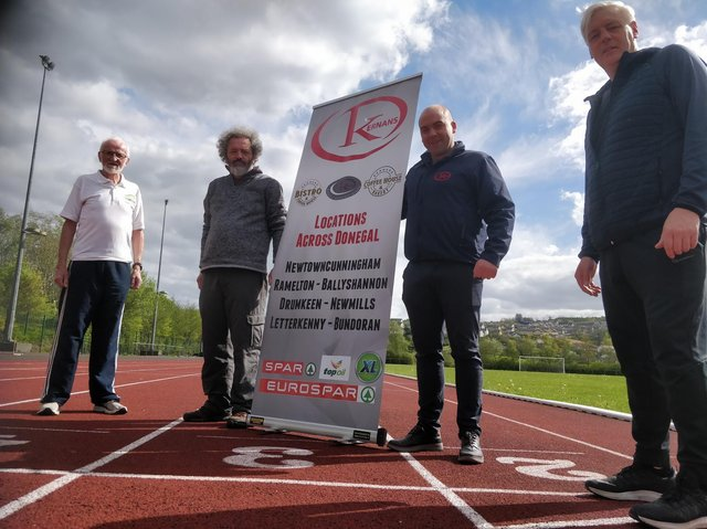 Pictured at the launch of the 2021 Donegal Half Marathon at the Danny McDaid Track at the Aura Leisure Centre in Letterkenny where the race will finish are (from left) Danny McDaid, Donegal Half Marathon Ambassador; Eunan Kelly, Donegal Half Marathon Treasurer; Cathal Curran, Kernan's Retail Group and Brendan McDaid, race director.