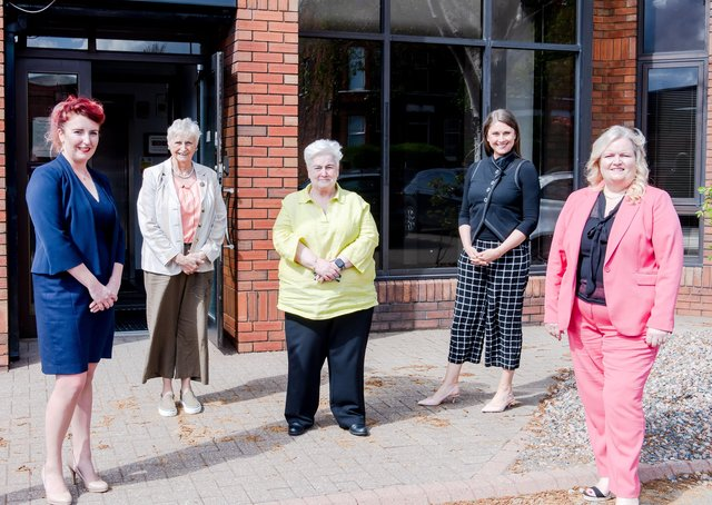 Louise Haigh, Shadow Secretary of State for NI; Eileen Bell CBE; Norma Shearer, CEO TWN; Sarah Travers, Conference Facilitator; Patricia-Lewsley-Mooney CBE, Chairperson TWN;