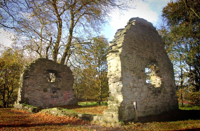 The ruins of St. Brecan's Chapel in St. Columb's Park.  A chapel is believed to have been located on the site from the sixth century. Bishop Redmond O'Gallagher is credited with rebuilding the church in the late 1500s.