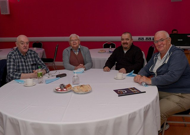 James, Patrick, Gerry and Tony who took part in the Creative Ageing documentary, made by Arts in Mind at Studio 2, pictured the launch of the programme at Studio 2 on Wednesday morning last. DER2119GS – 012