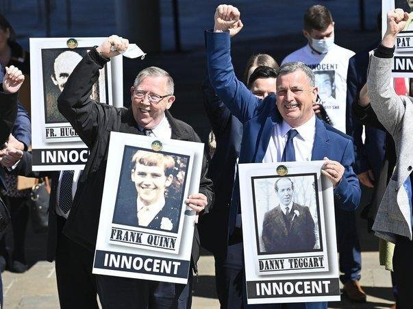"""Families pictures after the Ballymurphy Massacre Inquest, International Conference Centre Belfast Ten people killed in west Belfast almost 50 years ago in the wake of an Army operation were """"entirely innocent"""", an inquest has found. Press Eye - Belfast - Northern Ireland - 11th May 2021 Picture by Stephen Hamilton / PressEye :"""