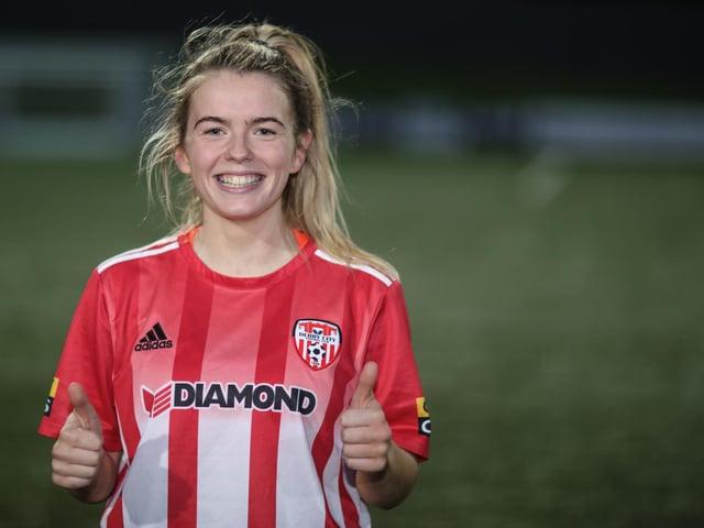 Thumbs up from Derry City Women's match winner Lauren Cregan.  Picture by John Paul McGinley / JPJPhotography