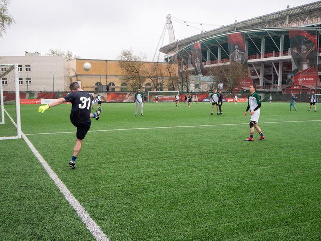 Michael Graham, Seamus Heaney's GAC captain in action against the Moscow Shamrocks GAC, during their recent friendly at FC Lokomotiv Moscow Stadium.