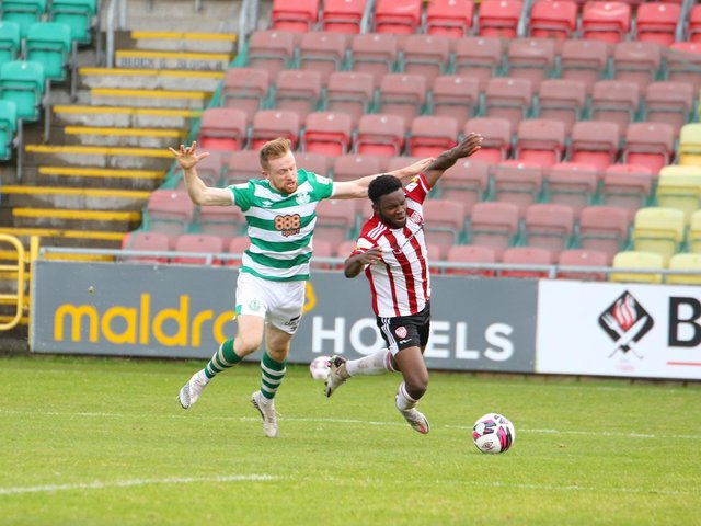 James Akintunde is brought down for a penalty at the start of the second half in Tallaght by Sean Hoare. Picture by Kevin Moore.