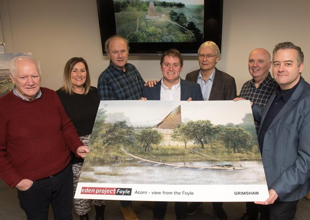 FEBRUARY 2020: Professor Tim Smit, co-founder of the Eden project, pictured with others alongside an artistic rendition of the Acorn which will be at the centre of the proposed £67m Eden Project Foyle which has been developed by the River Foyle Gardens charity. Included are, Eamonn Deane, trustee, Clare McGee, Director Innovate-NI, Sir Tim Smit, co-founder of the Eden Project, Dan James Development Director, Eden Project, Gerry Kelly, Trustee, former CEO Apex Housing, Dr. Bernard Toal, Director, Innovate-NI and Dr Ian Mccafferty, Grimshaw Architects. The 250 acre site will be developed along the banks of the River Foyle linking the Boom Hall and Brook Hall estates. Picture Martin McKeown.
